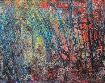 An Enchanted place a mixed media abstract painting