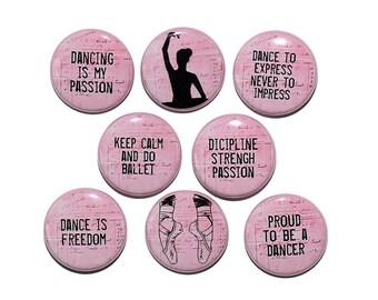 Dance Words - Set of 8 Pinback Buttons Badges 1 inch - Flatbacks or Magnets