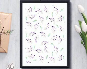 Printable Wall Art, Purple Mint Pattern, Watercolor Print, Pattern Art, Floral Print, Pattern Decoration, Pattern Decoration, Botanical Art