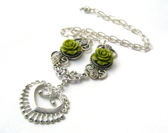 Green Rose Heart Filigree Necklace - Delicate Silver Filigree & Pistachio Lime Green Resin Cabochon Roses Jewelry - Feminine Victorian Style