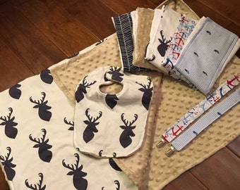 Baby reversible blanket gift sets. Burp cloths, bib and pacifier clips