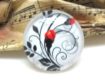 1 cabochon 25 mm glass Rose Red 2-25 mm