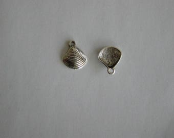 1 charm shell metal silver 15 x 12 mm