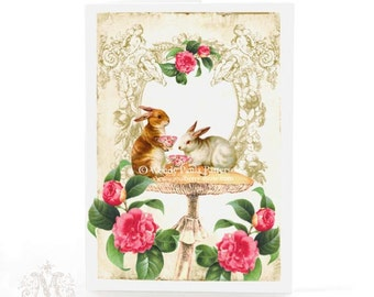 Rabbit card, woodland tea party for birthday, Easter, all occasion, blank inside