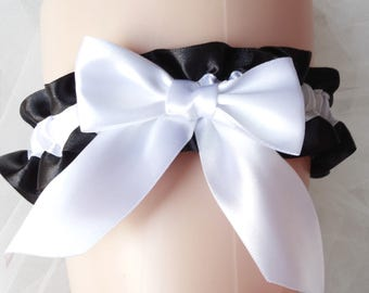 Black garter with white bow wedding garter bridal garter black toss garter  plus size prom garter single simply satin garter classic garters