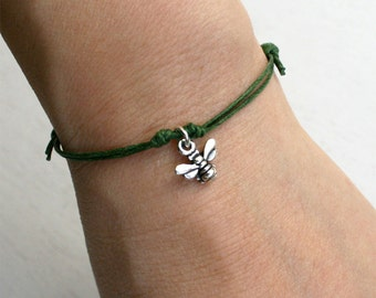 Honey Bee Bracelet, Honey Bee Anklet, (many color to choose)