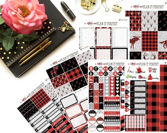 Mad for Buffalo Plaid EC Weekly Sticker Kit// VERTICAL Weekly Kit for Erin Condren// 6 sheets of planner stickers