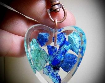 RARE Bluebird Mine Chrysocolla Key Chain, Purse Clip, FOB, Rear View Mirror, Window, Sun Catcher, Copper, Heart 07