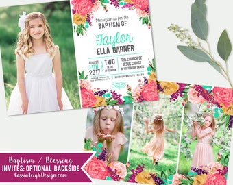 Girls LDS Baptism Invitation - Girls Photo announcement Floral - Baptism Invite - Printable Download