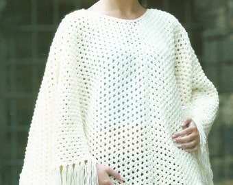 Instant Download - PDF-Lovely Aran Poncho Crochet Pattern (AD40)
