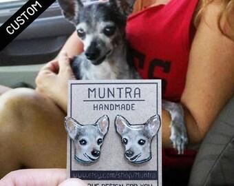 CUSTOM DOG EARRINGS Dog Stud Earrings Resin Custom Pet Earrings Cat Dog Animal Custom Earrings Dog Custom Jewelry Gift Idea Pet Jewelry