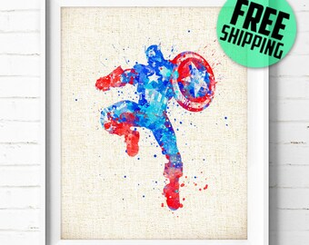 Captain America, Avengers, Marvel, Superhero, Poster, Watercolor Painting, Kids Wall Art, Home Decor, Nursery Decor, Holiday Gift, 49