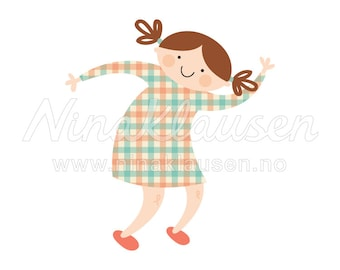 Happy Girl Clipart Illustration for Small Commercial Use - 0070