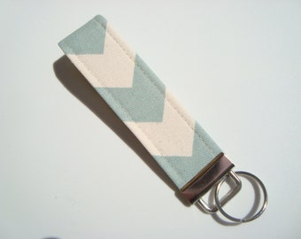 Wristlet Key Fob / Key Chain -Chevron / Blue and Natural