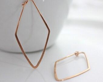 Rose Gold Hoop Earrings / Diamond Shape Earrings / Rose Gold Geometric Earrings / Rose Gold Earrings