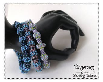 Beading Pattern, Instructions, Tutorial, Cubic Right Angle Weave, CRAW, Soft Bangle rose like details Instant Download Pattern RINGAROSEY