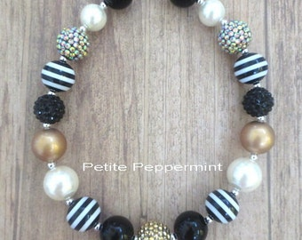 Black Gold Girls Chunky Necklace, Girls Bubblegum Chunky Necklace, Baby Girl necklace,Girls Bubble Gum Bead Necklace,Children Necklace