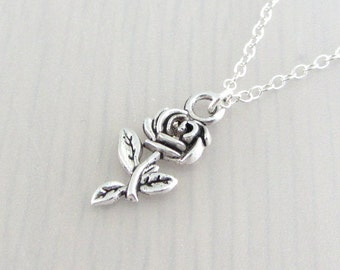Rose Flower Charm Necklace, Silver Flower Pendant, Gardeners Gift, Nature Plant Gift, Silver Plated, Stainless Steel, Sterling Silver Chain