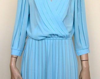 Blue sheer vintage dress by Monica Richards USA- size 14/16