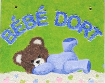 """Door plaque outside """"Baby sleeping"""""""