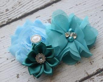 Teal blue hair clip, #3,flower clip, clip, wedding clip, flower girl hair clip, maternity hair clip