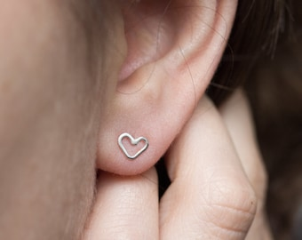 Tiny hearts - minimal stud earrings, simple every day studs in sterling silver or 9k gold