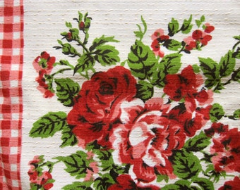 Red gingham and floral classic country 1950s barkcloth curtains