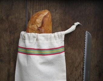 """Baguette Bred Bag in antique french linen -Swedish Bread Bag -- Baguette Size- french """"baguette"""" Bag or Wine bag"""