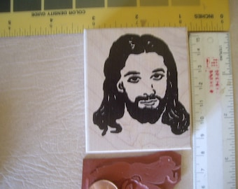 2 sizes Jesus, savior, Christ  rubber stamps Wood mounted 2 inches square & 7/8 inches scrapbooking rubber stamping