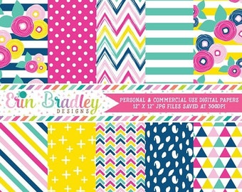 80% OFF SALE Summer Brights Digital Paper Pack with Floral Chevron Polka Dotted Striped Triangle & Cross Patterns Commercial Use OK