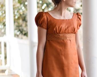 Regency Ball Gown, Jane Austen Reenactment, 19th Century Costume, Ball Gown, Rust, Size Misses 2