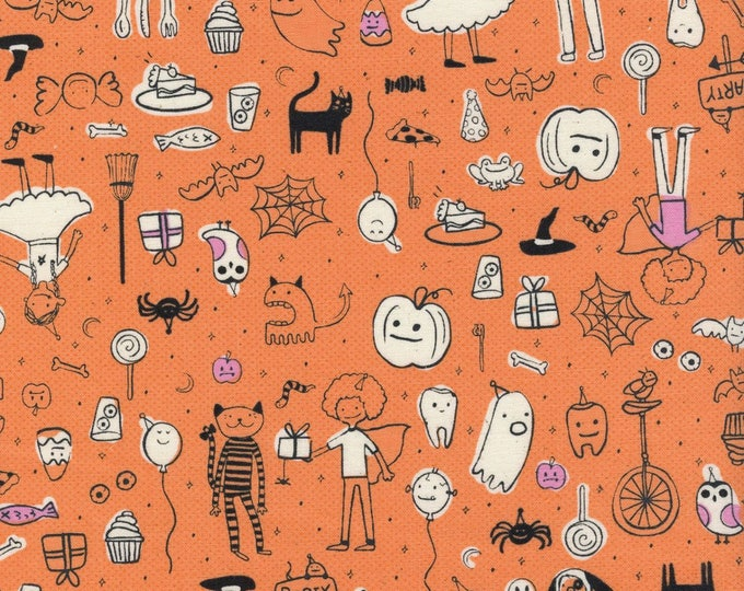 Lil' Monsters by Cotton + Steel - Party Orange - Cotton Woven Fabric