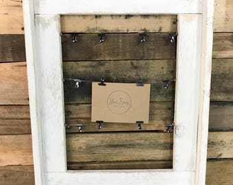 Rustic Picture Display / Photo Frame / Picture Frame / Rustic Decor / Photo Picture Frame / Framed Copper Wire / Picture Clips Display