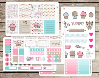 Baking Cupcakes Vinyl Planner Stickers for use with EC Vertical Planners