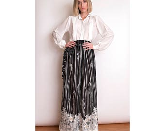 VTG 70s black white striped maxi skirt high waisted wrap floral monochrome 1970s