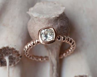 Rose Gold Cushion Cut Engagement Ring   Low Profile Cushion Cut Solitaire   5mm Forever One Moissanite Ring   14k 18k recycled gold