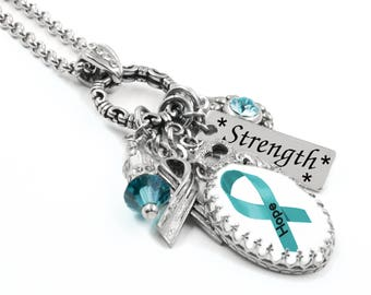 Cancer Awareness Necklace, Ovarian Cancer Jewelry, Customized Ovarian Cancer Jewelry, Personalized Ovarian Cancer Necklace