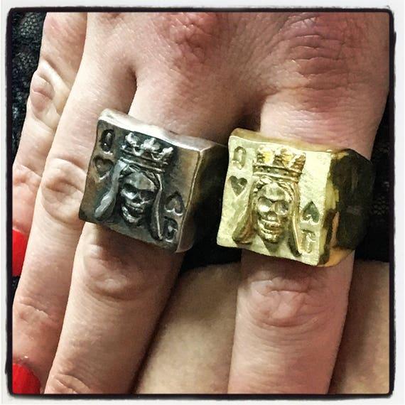 Etherial Jewelry Rock Chic Talisman Luxury Biker Custom Handmade Artisan Pure Sterling Silver .925 Queen of Hearts Gambler Badass Biker Ring