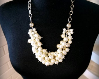 Bernie pearl cluster necklace