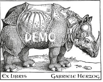 Bookplate Rubber Stamp, Rhinoceros