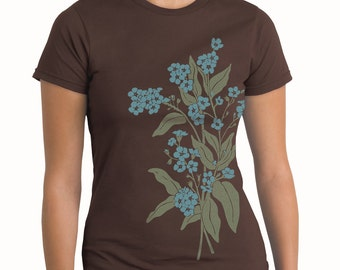 Plus Size, Forget Me Nots T-shirt, Plus size flower print tee, Artsy T-shirt