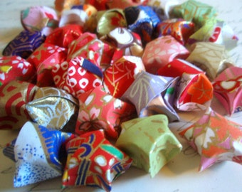 BACK IN STOCK-15 Washi Paper Origami Lucky Stars - Chinese New Year - Confetti -Gift Enclosure -Party Favors - Colorful Metallic Paper Stars