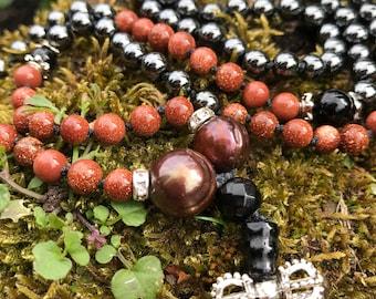 Tahitian Pearl Sandstone Hematite Hand Knotted Tassel Mini 6mm Japa Mala Necklace