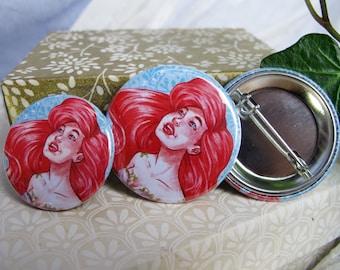 Badge 38mm or 32mm - Ariel the Little Mermaid