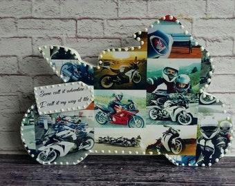 Personalised Wooden Photo Collage Motor bike, Baby, Baby Shower, Birthday, Anniversary, Wedding Gift Present