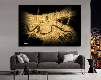 New Orleans Poster Art Print Louisiana Old Vintage Map