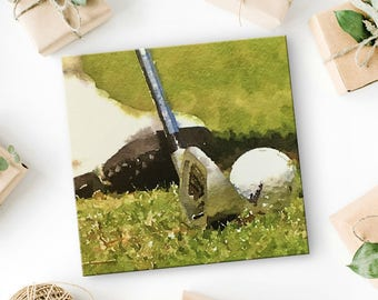 "Gift for Golfer - Canvas Art Print - Golf Art - Golf Decor - Unique Golf Gifts - Golf Picture - Golf Gift for Men - Gift for Women -  8""x8"""