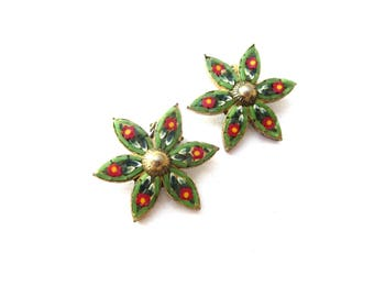 Pair of Italy Signed Star or Flower / Floral Shaped Green, Red, and White Micromosaic Bronze Metal Clip On Earrings