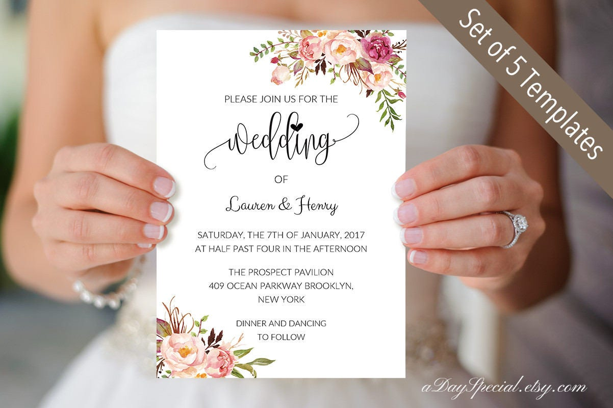 Set of 5 Pink Rose Wedding Invitation Card Templates