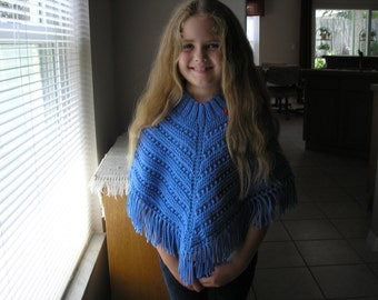 Knitted Poncho, Girls Medium - Berry Blue